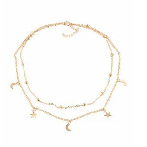 Urban Outfitters Jewelry - Layered Stars & Moon Necklace (Gold)